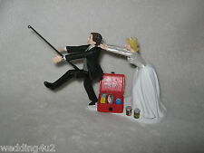 Wedding Party Cake Topper ~Drunk~ Fishing Fisherman  Beer Cans Running Groom