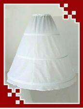 3 Bone Hoop White Crinoline Bridal Underskirt Petticoat Wedding Dress Slip