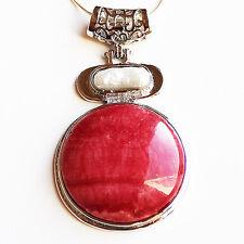 Semi-Precious Pearl and Round Stone Pendant - Red