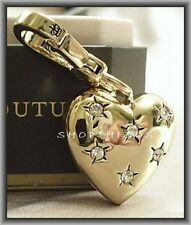 RARE JUICY COUTURE 2011 GOLD PUFF HEART PAVE CHARM NIB FREE SHIPPING
