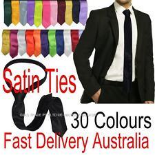 Men Bright Color Satin Skinny Wedding Formal Church Party Dance Costume Neck Tie
