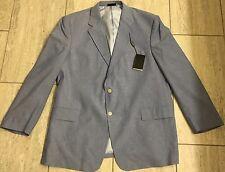 Adolfo Mens 2 Button Blue Cotton Sport Coat Blazer Jacket 48L