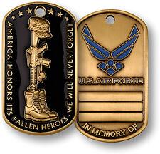 "U.S. Air Force / Fallen Heroes ""In Memory Of"" - USAF Brass Dog Tag"