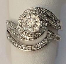 Round Flower Halo White Gold Over Diamond Engagement Bridal Set Wedding Band