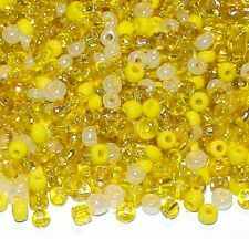 SBL1944h Sunshine Yellow 6/0 4mm Cream & Golds Glass Seed Bead Premium Mix 4oz