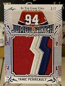 2020-21 Leaf In the Game Used Hockey Yanic Perreault Jumbo Patch #3/7 - Montreal
