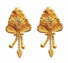 Certified Yellow Fine Gold Solid 22K 916 Stamped Hallmarked Designer Earrings