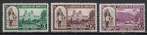 BOLIVIA:1943 SC#297-98,C91 MOG General Jose Ballivian & Cathedral at Trini T115