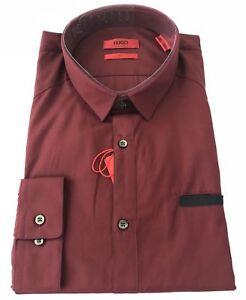 NWT $165 BOSS Hugo Boss Mens Edell Modern Slim Fit Dark Red Dress Shirt XL