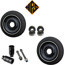 PRO STUNT SCOOTER PACK 2 110mm BLACK METAL CORE WHEELS ABEC 11 BEARING PEGS