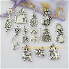12Pcs Antiqued Silver Tone DIY/Animal Cat Mixed Charms Pendants