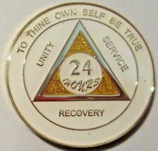 Alcoholics Anonymous 24 hour White Gold Sparkle Medallion Coin Token Sober