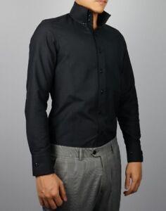 Mens Slim Fit Black High Stand Collar 3 Button Down Dress Shirt Size US S-XXL