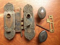 Antique Bronze Fancy Doorknobs Doorplates & Mortise Lock c1885 Renaissance