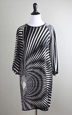 THREAD SOCIAL $384 Silk Moder Black White Swirled Geo Shift Dress Size 6
