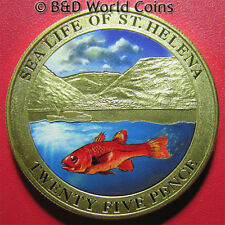 SAINT HELENA 2013 25 PENCE COLORED COD FISH SEA LIFE MOUNTAIN PROOF-LIKE 38mm