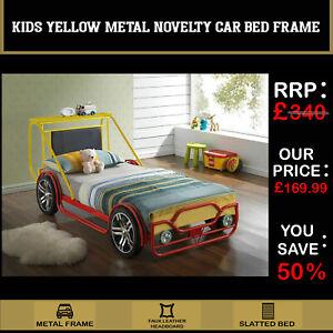 KIDS CHILDRENS BOYS BRUM 3ft SINGLE RED & YELLOW METAL NOVELTY CAR BED FRAME