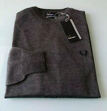 FRED PERRY maglione uomo TG. S-M-L-XL-XXL colore grigio antracite