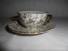 VTG.WOLFRAM WIESAU Small Tea Cup/Saucer Porcelain 57/24 White/Gold BAVARIA Japan