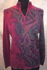 Orvis Womens M Passport Long Sleeve Pullover Fuchsia Purple Paisley Top Wool