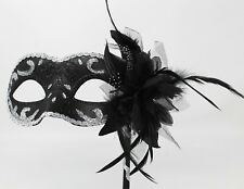 SPARKLING BLACK & SILVER VENETIAN MASQUERADE PARTY PROM MASK  HAND HELD STICK