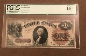 1880 $1 legal tender note , fine to very fine , Pcgs F-15