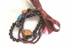 Stones Made In Usa Bracelet Brown and Colored Faux