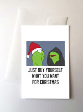 2 Pack - Evil Kermit Merry Christmas Greeting Cards Meme Memes Funny Frog