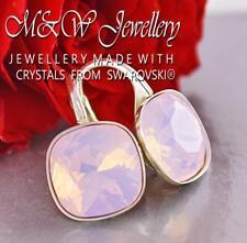 925 Silver Earrings 10mm *FANCY STONE* Rose Water Opal Crystals from Swarovski®