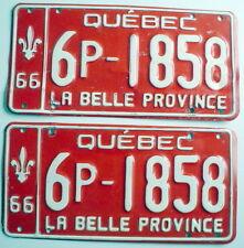 ONE LOT OF TWO 1966'S QUÉBEC AUTO PLATES *** 2 PLAQUES D'AUTO QUÉBEC 1966