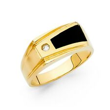 Black Onyx Ring Solid 14k Yellow Gold Mens Fashion Band Cz Square Fancy Wedding