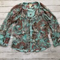 Fig And Flower Anthropologie Long Sheer Blouse Boho Hi-Lo Chiffon Top Floral M