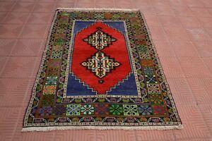 Red Turkish Small Rug, Vintage Persian Rug, Bath Mat Rug, Vintage Oriental Rug,