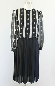 Vtg 80s Marinette Black Geometric Striped Pleated Shirt Dress Size 6 Retro