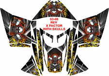 SKIDOO SNOWMOBILE WRAP REV,XP, XR,XS,XM MXZ  99-16  STICKER  X Factor W SKULL