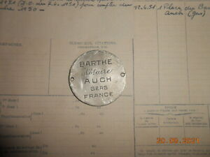 Plaque d'identite officier notaire à auch  + copie du document