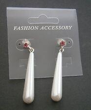 AR62) New silver tone metal and faux pearl drop pink rhinestone pierced earrings