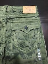 TRUE RELIGION BRAND JEANS MENS GREEN STRAIGHT JEANS SZ 34