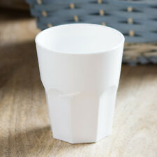 Set of 4 White 27cl Reusable Plastic Drinking Glasses Hi-Ball Tumblers Bar Cup