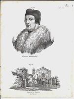 1837ca TEMPIO S. AGOSTINO PADOVA - GUICCIARDINI 2 litografie Magazzino Pittorico