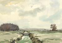 John Godfrey - Contemporary Watercolour, River Landscape