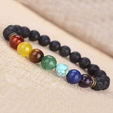 7 Stones Chakra Healing Lava Rock Buddha Hamsa Hand Reiki Bead Prayer Bracelet