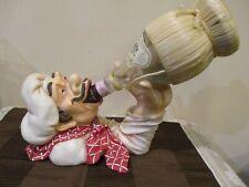 """Drinking Chef Wine Bottle Holder w/2004 Empty Bell""""A Gio Chianti Bottle, (2pcs)"""