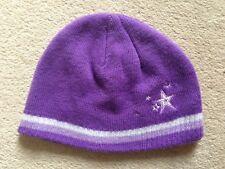 Girls Purple Beanie Hat (age 7-10)