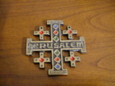 BELLE CROIX DE JERUSALEM EN BRONZE EMAILLE 8 CM X 8 CM