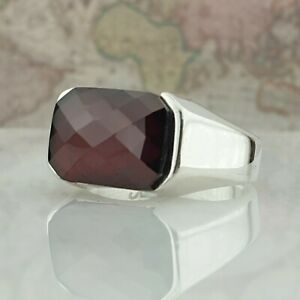Solide 925 Sterling Silber Rot Achat Edelstein Männer Ring Handgefertigt Ottoma