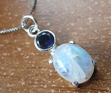 Necklace 925 Sterling Silver d29b Faceted Iolite and 4-Pronged Rainbow Moonstone