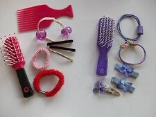 HOT PINK & PURPLE BRUSHES, COMB + 11 HAIR ORNAMENTS **GC**