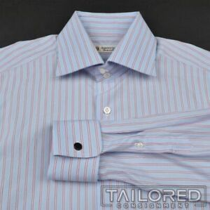 DOMENICO VACCA Blue Striped 100% Cotton FRENCH CUFF Luxury Dress Shirt - 16