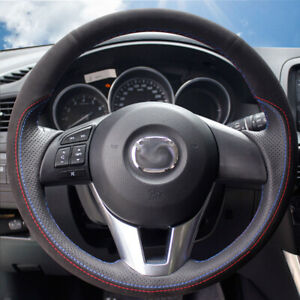 Black Suede Black Leather Car Steering Wheel Cover for Mazda 3 CX-5 CX-4 CX-9